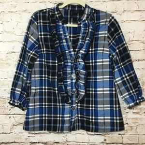 New Directions ND Plaid Blouse